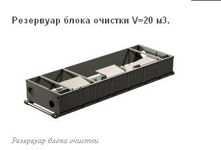 Резервуар блока очистки V=20 м3.